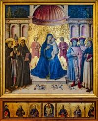 Beato Angelico, Rétable di Bosco ai Frati, Vierge en Trône, détrempe et feuille d'or sur bois, 1450, couvent de San Marco à Florence Italie