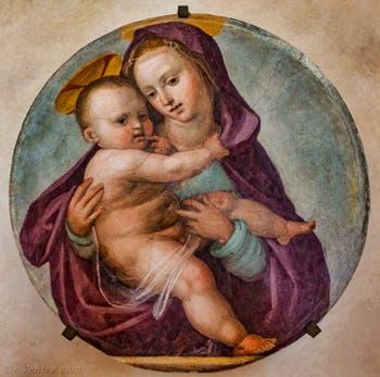 Fra Bartolomeo, Vierge à l'enfant, fresque sur terre cuite, 1516-1517, couvent de San Marco à Florence Italie
