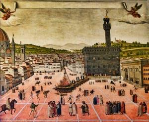 L'exécution de Jerôme Savonarole sur la Piazza della Signoria devant le Palazzo Vecchio, peinture de 1650, au Couvent Musée San Marco à Florence en Italie