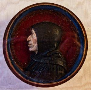 Portrait de Jerôme Savonarole par Francesco della Robia, stuc polychrome Couvent Musée San Marco à Florence en Italie