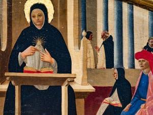 Zanobi Strozzi, l'école de Saint-Thomas d'Aquin, détrempe sur bois (1450) dans la bibliothèque du couvent de San Marco à Florence en Italie