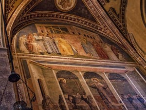 Chapelle Bardi fresques de Giotto di Bondone église Santa Croce à Florence en Italie