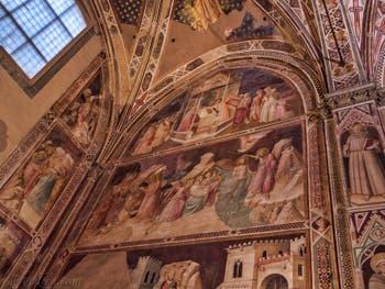 Chapelle Castellani fresques d'Agnolo Gaddi église Santa Croce à Florence en Italie