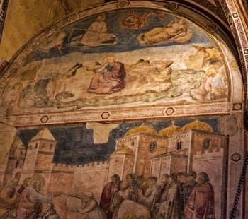 Chapelle Peruzzi fresques de Giotto di Bondone église Santa Croce à Florence en Italie
