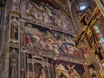 Fresques de la chapelle majeure de l'église Santa Croce à Florence en Italie