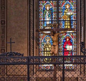 Crucifix Christ de Donatello église de Santa Croce à Florence en Italie