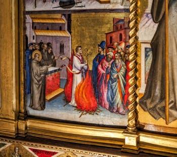 Giovanni del Biondo saint Jean Gualbert en Trône et scènes de sa vie (1370) église de Santa Croce à Florence en Italie