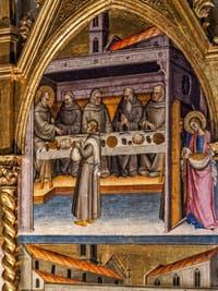 Giovanni del Biondo Saint-Jean Gualbert en Trône et scènes de sa vie (1370) église de Santa Croce à Florence en Italie