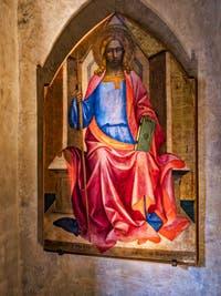Lorenzo Monaco, Saint-Jacques Majeur en trône (1408) église de Santa Croce à Florence en Italie