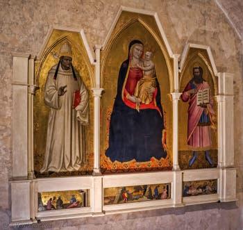 Nardo di Cione, Vierge à l'enfant, saint Grégoire et Job église de Santa Croce à Florence en Italie