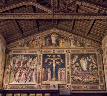 Fresques Sacristie église Santa Croce Ascension par Niccolo Guerini (1340) à Florence en Italie