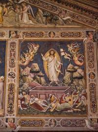 Fresques Sacristie église Santa Croce Résurrection par Niccolo Guerini (1340) à Florence en Italie