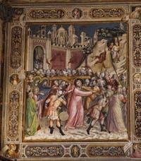 Fresques Sacristie église Santa Croce Montée au Calvaire par Spinello Aretino (1340) à Florence en Italie