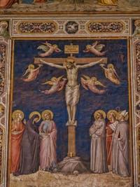 Fresques Sacristie église Santa Croce Crucifixion par Taddeo Gaddi (1340) à Florence en Italie