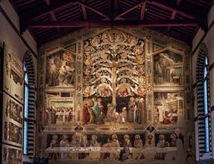 Fresques de Taddeo Gaddi l'Arbre de Vie et la Cène (1350) dans le réfectoire de l'église de Santa Croce à Florence en Italie