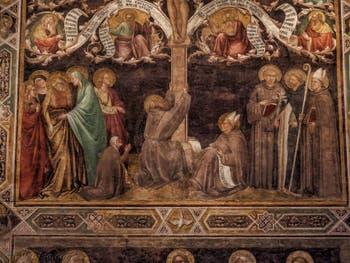Fresques de Taddeo Gaddi l'Arbre de Vie (1350) dans le réfectoire de l'église de Santa Croce à Florence en Italie