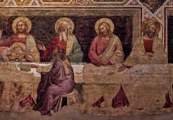 Fresques de Taddeo Gaddi la Cène (1350) dans le réfectoire de l'église de Santa Croce à Florence en Italie
