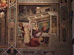 Fresques de Taddeo Gaddi l(1350) dans le réfectoire de l'église de Santa Croce à Florence en Italie