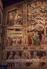 Fresques de Taddeo Gaddi (1350) dans le réfectoire de l'église de Santa Croce à Florence en Italie