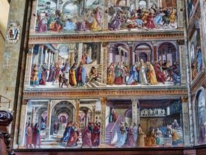 Fresques du Chœur de l'église Santa Maria Novella de Domenico Ghirlandaio (1485) à Florence en Italie