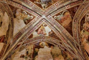 Fresques Lorenzo Monaco, Vie de la Vierge, 1420-1425 dans la chapelle Bartolini Salimbeni, Basilique église Santa Trinita, Florence Italie
