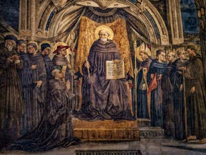 Neri di Bicci, fresque de Saint-Jean Gualbert entouré des Saints Vallombrosains, 1455, église Santa Trinita à Florence en Italie