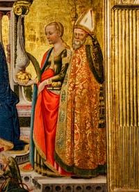 Nicolas Neri di Bicci, Triptyque de la Vierge à l'enfant en trône avec Sainte Lucie et Saint-Nicolas, 1466, Basilique Santa Trinita à Florence en Italie
