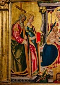 Nicolas Neri di Bicci, Triptyque de la Vierge à l'enfant en trône avec Saint-André et Catherine d'Alexandrie, 1466, Basilique Santa Trinita à Florence en Italie