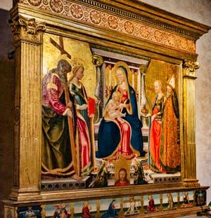 Nicolas Neri di Bicci, Triptyque de la Vierge à l'enfant en trône avec Saint-André, Catherine d'Alexandrie, Sainte Lucie et saint Nicolas, 1466, Basilique Santa Trinita à Florence en Italie