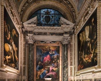 Chapelle Cerasi, Caravage, Annibale Carracci, Carlo Maderno, à l'église Santa Maria del Popolo à Rome en Italie