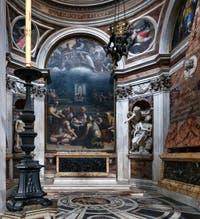 Le Prophète Habacuc tiré par les cheveux par l'Ange de Gian Lorenzo Bernini, chapelle Chigi dans l'église Santa Maria del Popolo à Rome