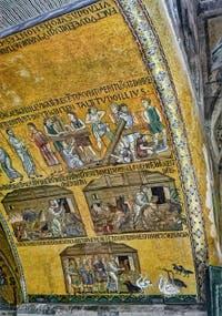 Mosaïque de Noé construisant l'arche et y faisant monter les animaux, XIIe siècle, atrium de la Basilique Saint-Marc de Venise