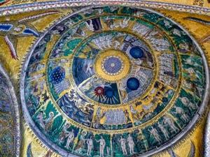 Cycle de la Création du Monde de la coupole de la genèse de la Basilique Saint-Marc, datant de la première moitié du XIIIe siècle