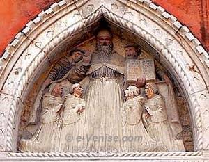 Lunette du Tabernacle - Saint Augustin entouré de ses moines