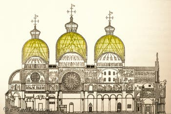 Plan en coupe de la Basilique Saint-Marc, en jaune, le vide entre les coupoles extérieures et les coupoles intérieures avec les détails de la charpente de soutien.