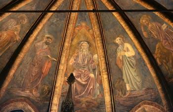 Andrea Del Castagno, fresque, autour du Père éternel, saint Zacharie, saint Jean Évangéliste, saint Jean-Baptiste, Saint-Mathieu et saint Marc, dans la chapelle d'Or San Tarasio de l'église San Zaccaria à Venise