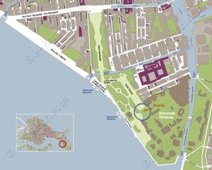 Plan de Situation des Pavillons des Giardini de la Biennale d'Art à Venise Italie