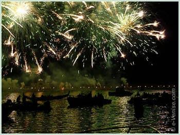 Les feux d'artifice de la fête du Redentore, du rédempteur à Venise
