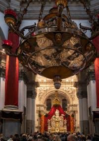 L'icône de la Vierge noire au-dessus du maître autel dans l'église de la Madonna de la Salute à Venise