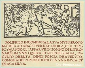 Extrait de l'Hypnerotomachia Poliphili, ouvrage imprimé par Aldo Manuzio à Venise
