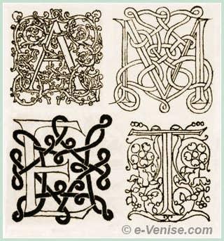 Lettrines utilisées dans les ouvragres imprimés par Aldo Manuzio