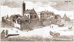 L'île du Lazzaretto Vecchio à Venise. Gravure de Giuseppe Filosi