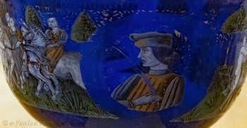 Coupe Nuptiale d'Angelo Barovier XVe siècle, au musée du verre de l'île de Murano à Venise
