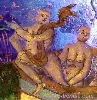 Coupe nuptiale Angelo Barovier Musée du Verre de Murano - Détail du bain dans la fontaine de jouvence
