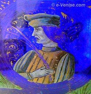 Coupe de mariage du verrier Angelo Barovier - Portrait du fiancé - Musée du verre de Murano