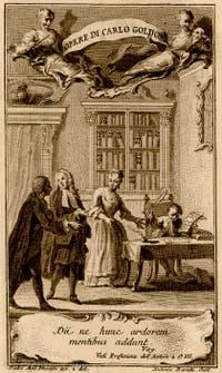 Carlo Goldoni compose son premier opéra à l'âge de 8 ans, devant sa mère. Gravure d'Antonio Baratti