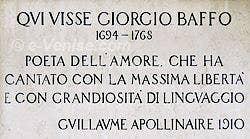 épitaphe par Guillaume Apollinaire sur le Palazzo Bellavite de Giorgio Baffo