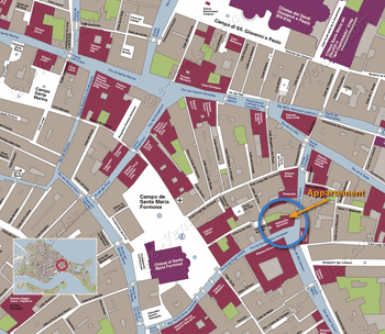 Plan de Situation de l'appartement Palazzetto Bernardo à Venise en Italie