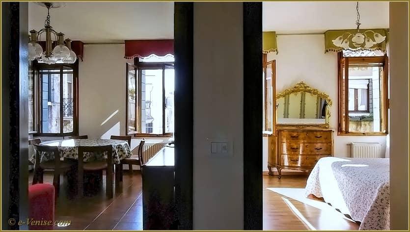 Location Campiello Barbaro à Venise, le salon salle à manger et la chambre