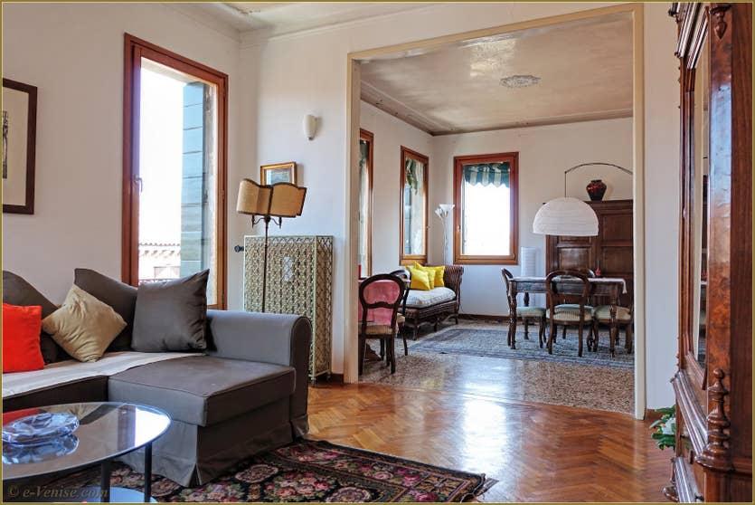Location Greci View à Venise, le salon salle à manger